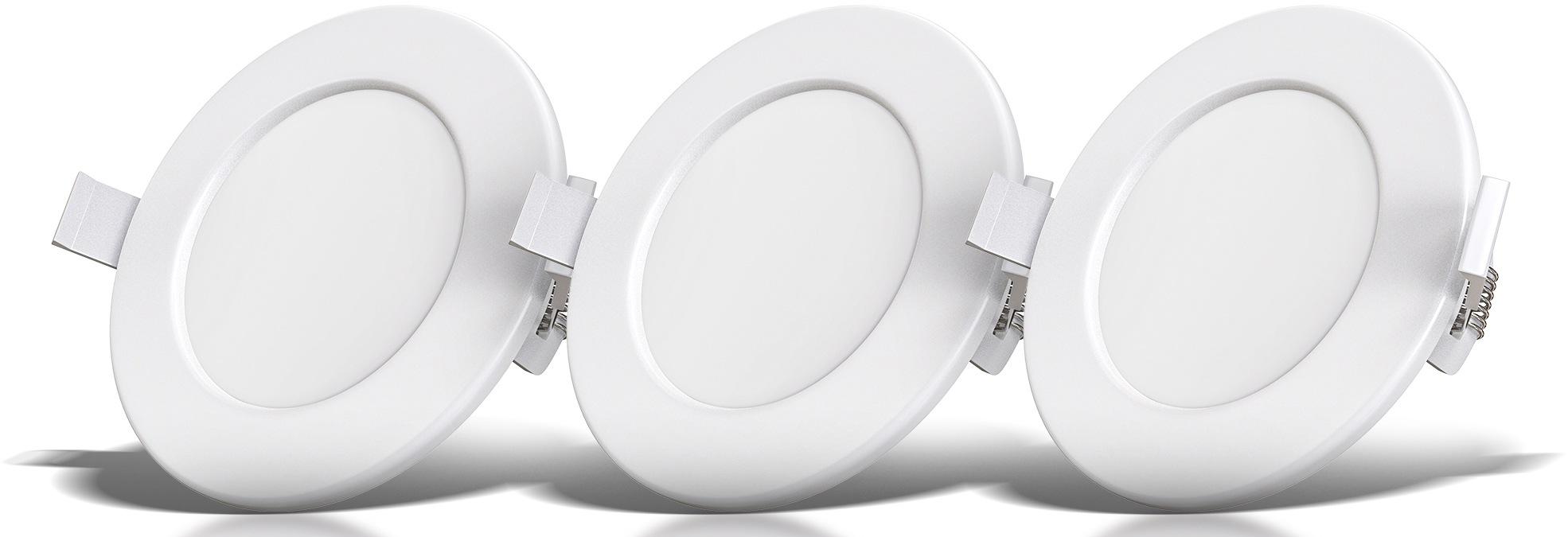 B.K.Licht LED Einbauleuchte, LED-Modul, Warmweiß, LED Einbauspots Bad Einbaustrahler ultra flach inkl. 3x 5W 450LM 3000K IP44