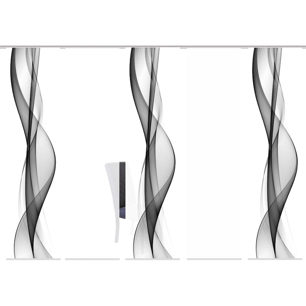 HOME WOHNIDEEN Schiebegardine »WELLANA 5er SET«, Dekostoff-Seidenoptik, Digital bedruckt