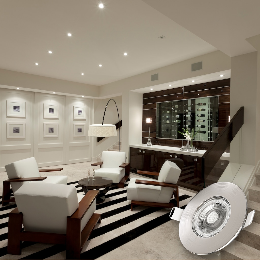 B.K.Licht LED Einbauleuchte, LED-Board, 6 St., Warmweiß, LED Bad Einbauspots Strahler Lampe ultraflach Deckenspots IP44 6er SET