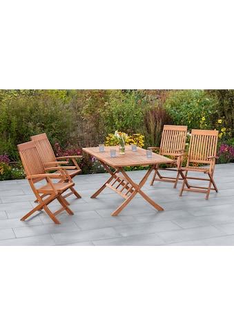 MERXX Gartenmöbelset »Comodoro«, (5 tlg.), 4 Klappsessel mit ausziehbarem Tisch kaufen