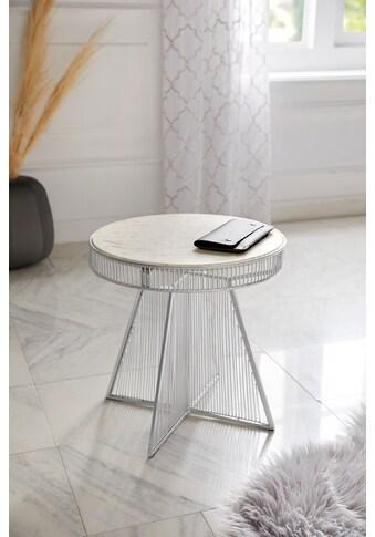 Leonique Beistelltisch »Kaylan«, mit einer Marmortischplatte und einem Eisengestell im... kaufen