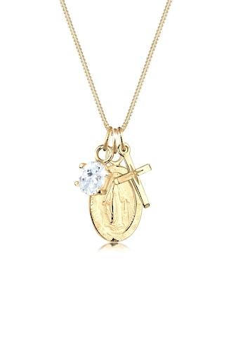 Elli Collierkettchen »Kreuz Marienbild Solitär Zirkonia 925 Silber« kaufen