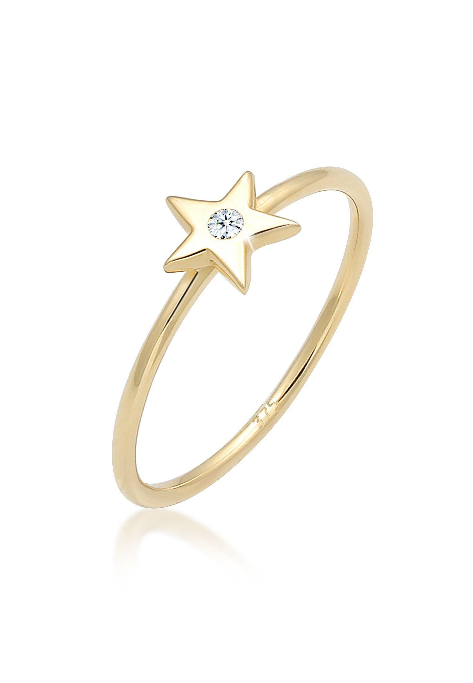 Elli Diamantring Bandring Stern Astro Diamant (002ct) 375 Gelbgold   Schmuck > Ringe > Diamantringe   Goldfarben   Elli