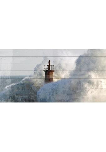 queence Holzbild »Wellenbrecher Leuchtturm«, 40x80 cm kaufen