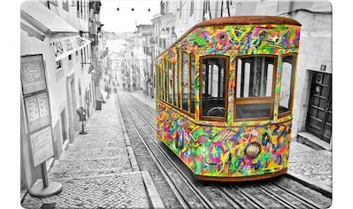 Wall-Art Glasbild »Tram in Lissabon«, Maße (B/T/H): 100/0,4/70 cm kaufen