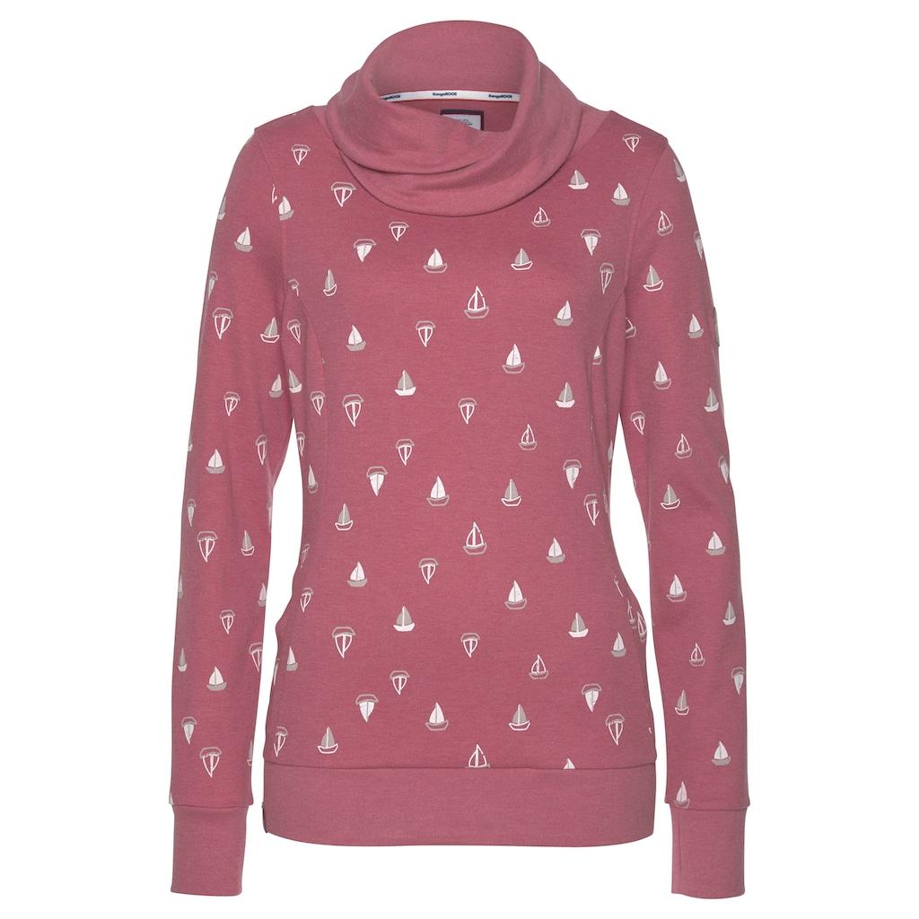 KangaROOS Sweatshirt, mit wärmendem Schlauchkragen und Allover-Print