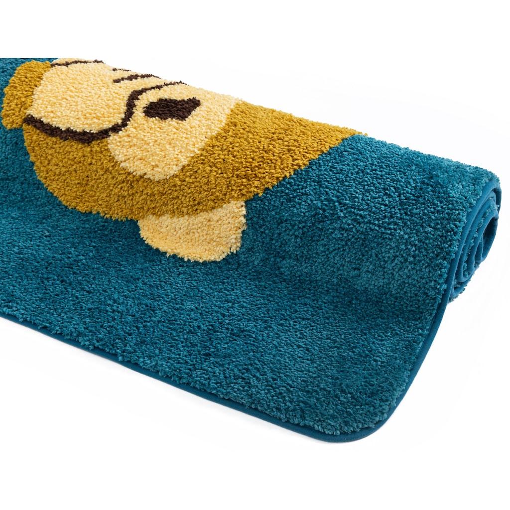 my home Badematte »Emoji«, Höhe 16 mm, rutschhemmend beschichtet, strapazierfähig, 3 Affen Design