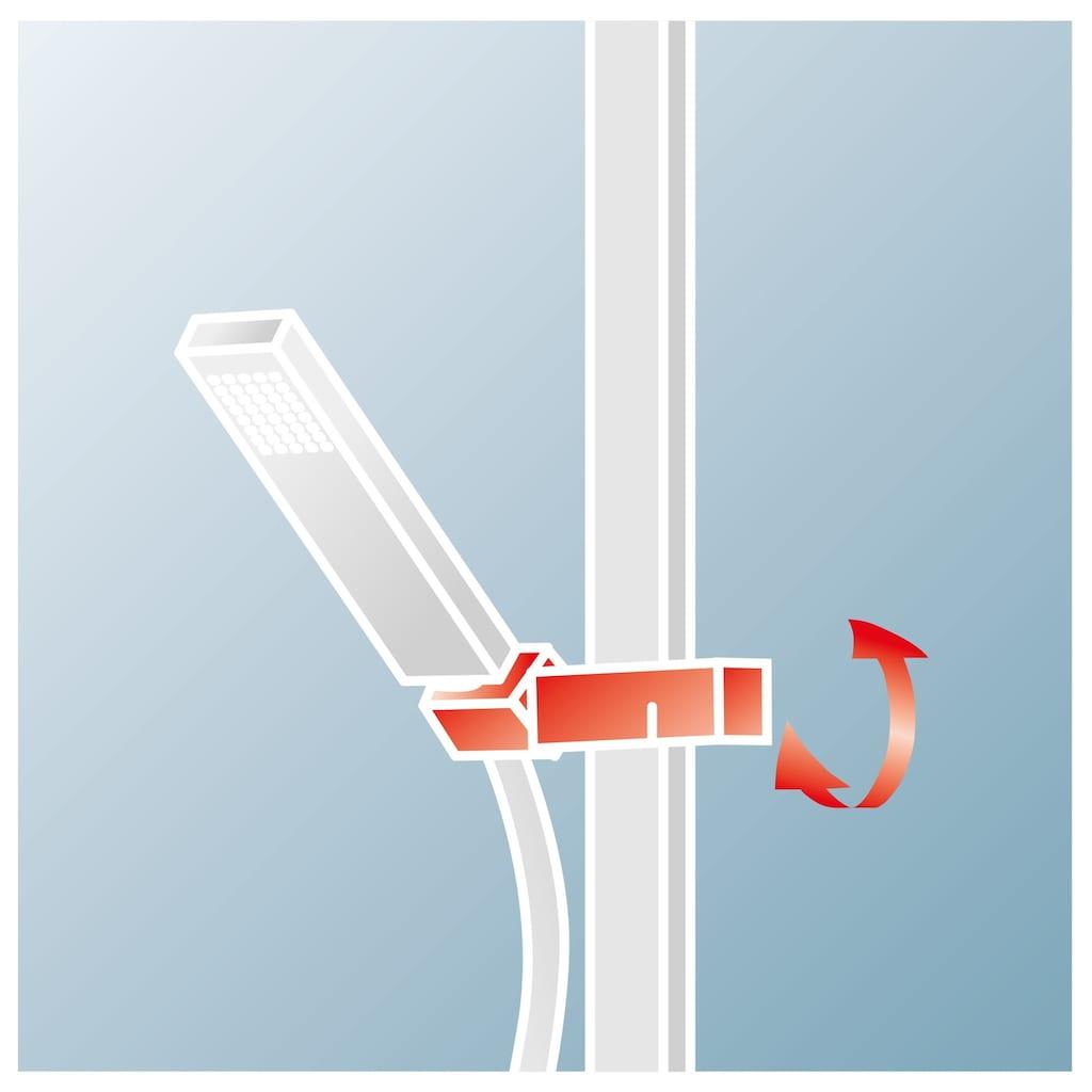 Schulte Duschsystem »EP DuschMa Cl Ther Kopfb rund«, mit Thermostat, Tiefe: 41,9-43,4, Antikalk-Noppen
