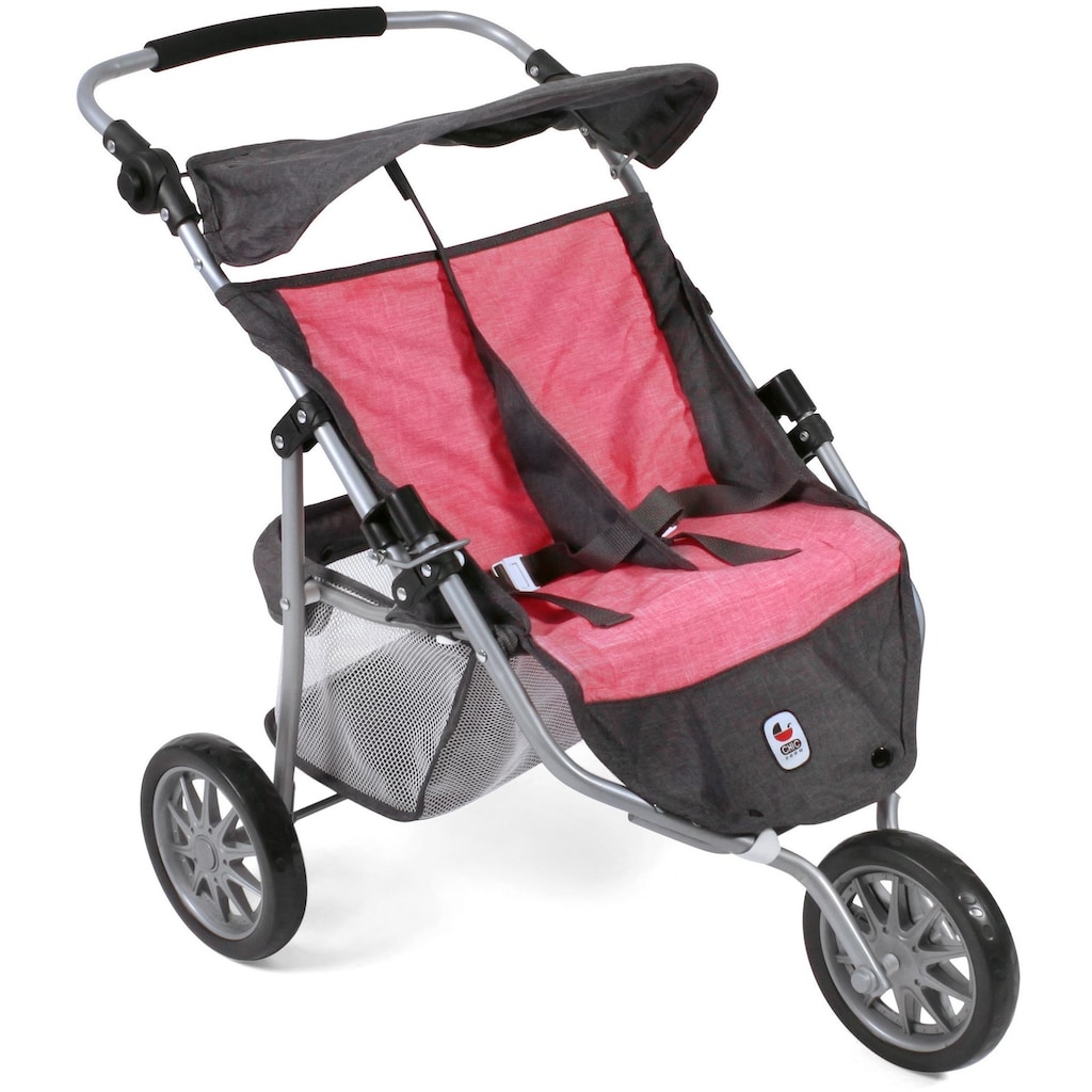 CHIC2000 Puppen-Zwillingsbuggy »Jogger, Anthrazit-Pink«