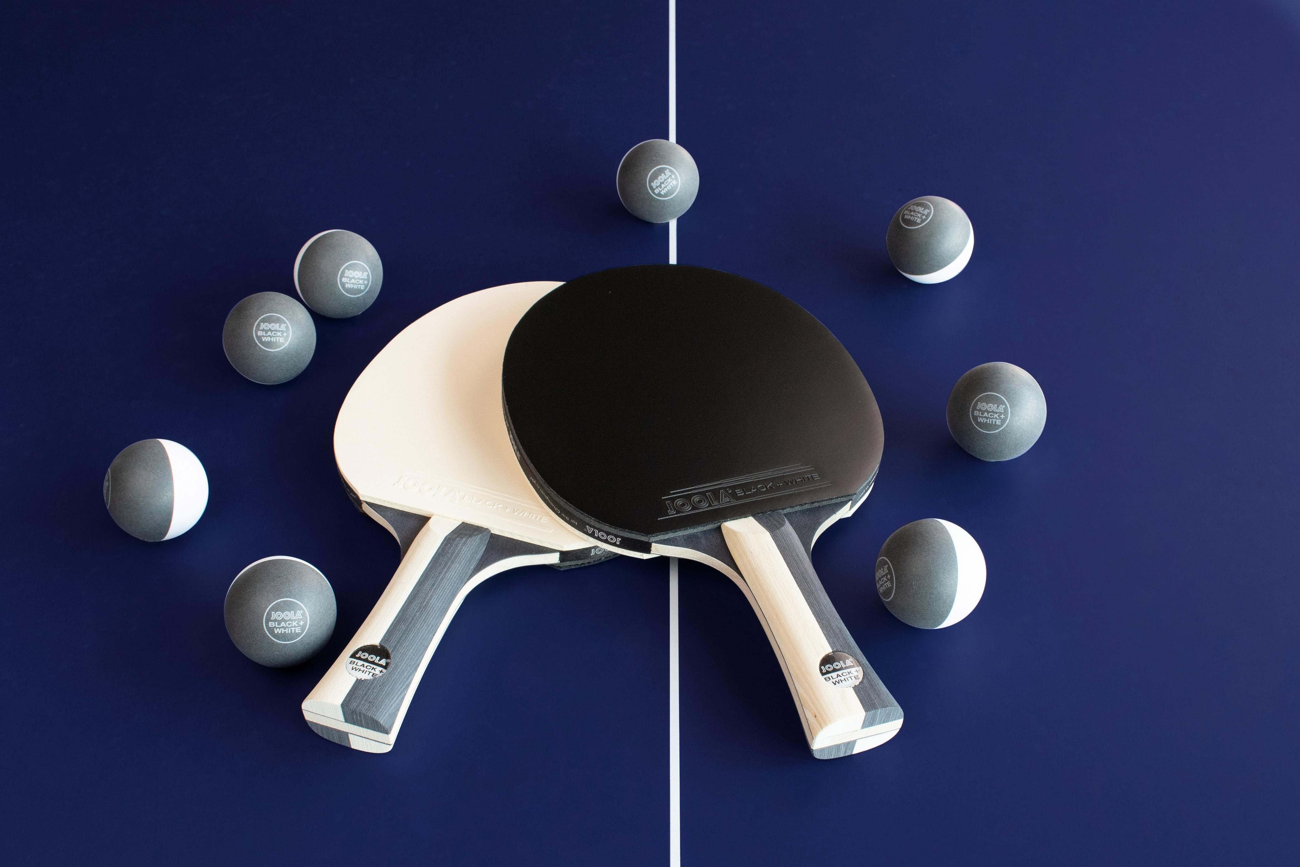 Joola Tischtennisschläger JOOLA Tischtennis-Set BLACK + WHITE (Set, 10-tlg., mit Bällen), bunt