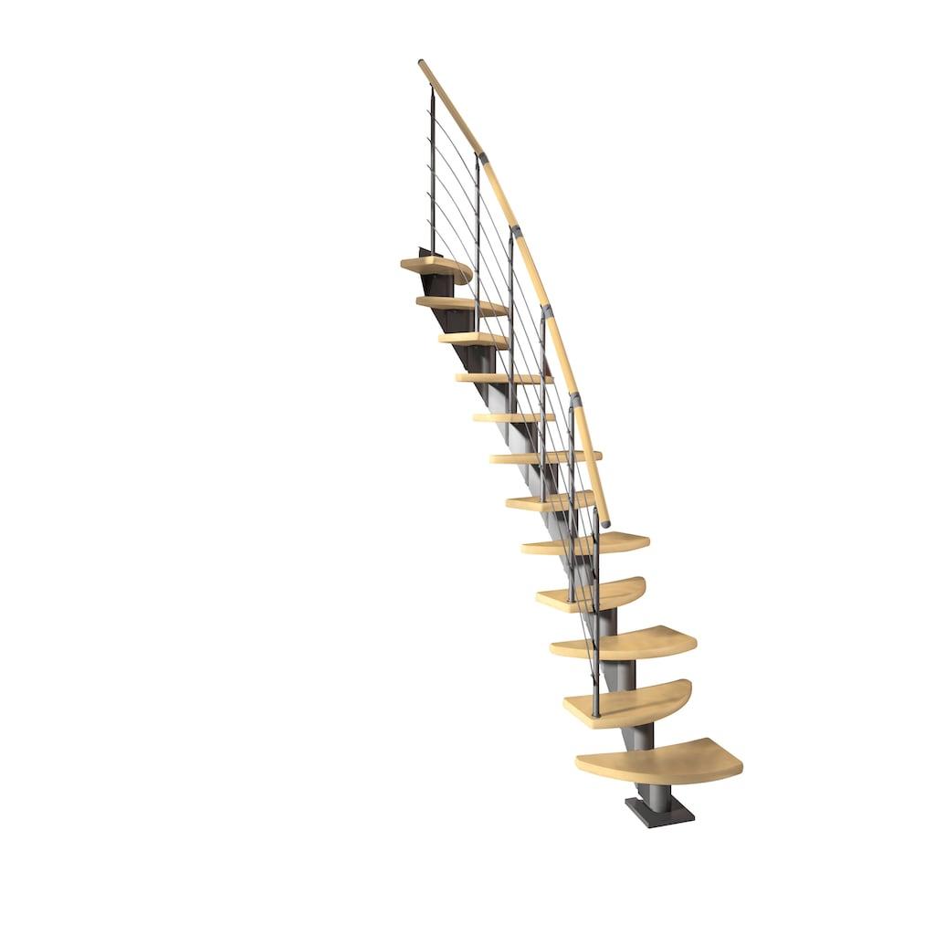 Dolle Systemtreppe »Berlin«, Edelstahlgeländer mit Holzhandlauf aus Birke