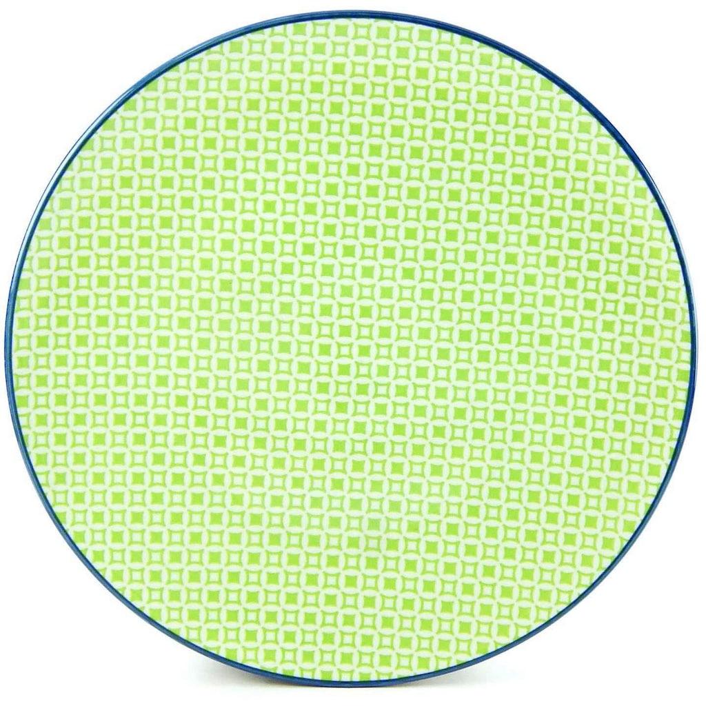 CreaTable Speiseteller »Mediterran«, (Set, 4 St.), Ø 27 cm, Steinzeug, Farbe grün