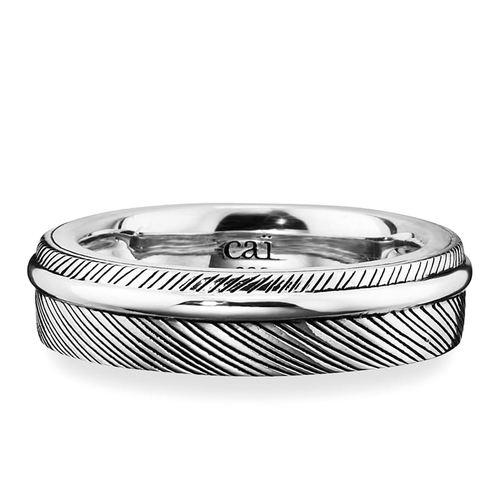 CAÏ Fingerring »925/- Sterling Silber rhodiniert Feder«, Ring