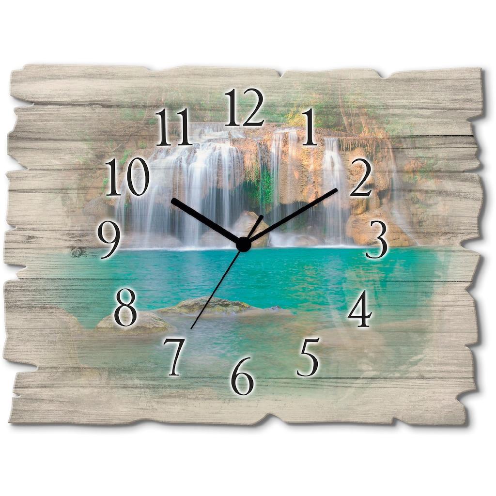 Artland Wanduhr »Wasserfall im Wald National Park«