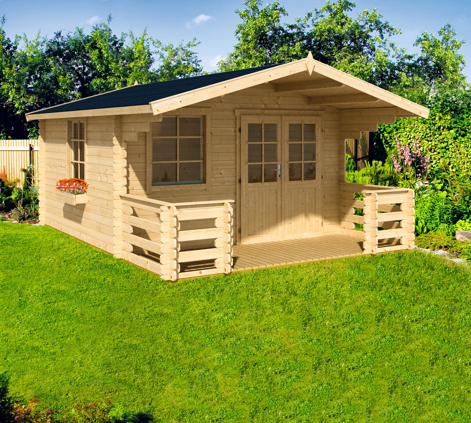 NORDIC HOLZ Set: Gartenhaus »Klingenberg 2«, BxT: 404x520 cm, mit Terrasse,  Fußboden, Blumenkasten kaufen | BAUR