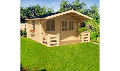 NORDIC HOLZ Set: Gartenhaus »Klingenberg 2«, BxT: 404x520 cm, mit Terrasse, Fußboden, Blumenkasten kaufen