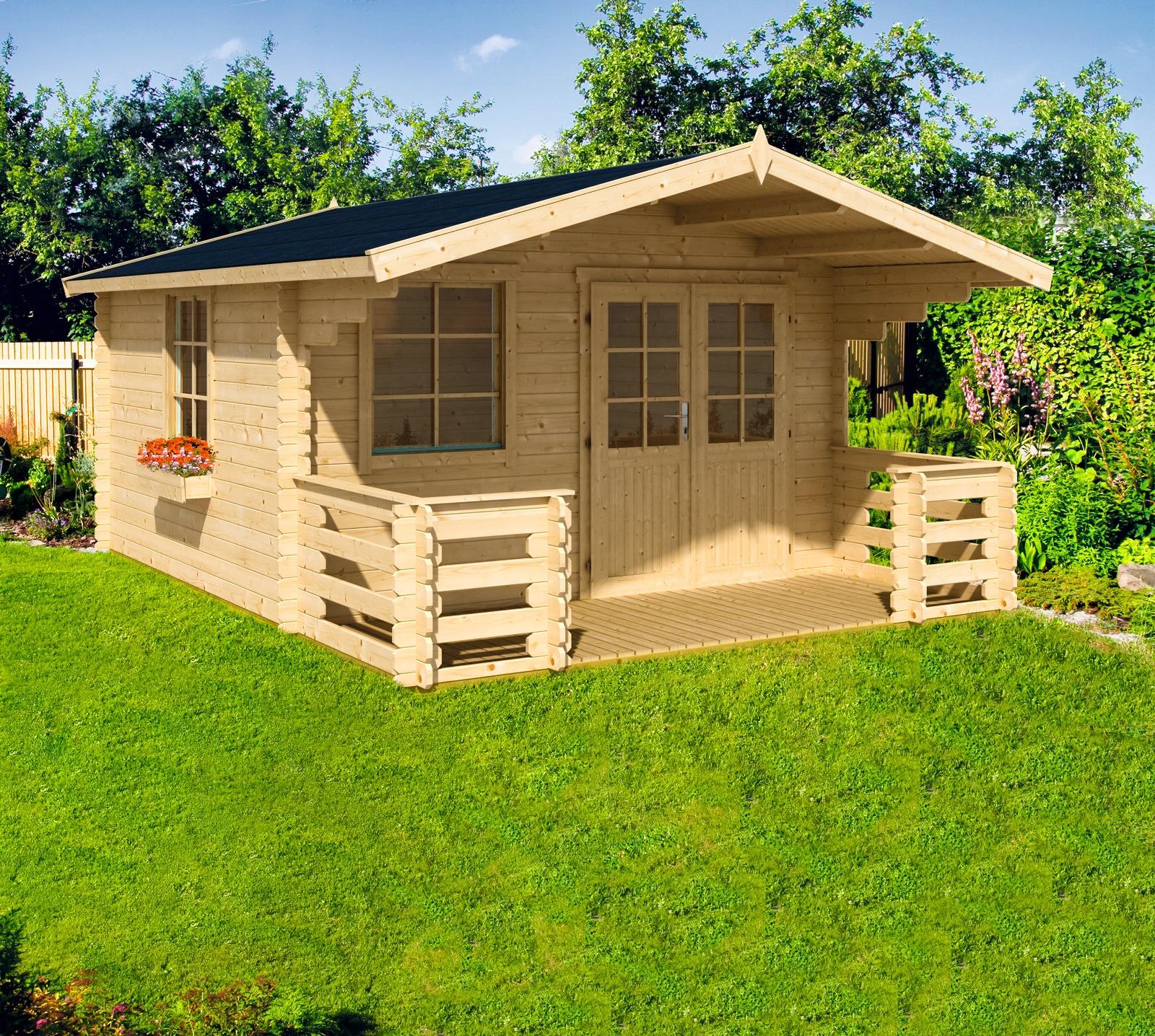 NORDIC HOLZ Set: Gartenhaus »Klingenberg 2«, BxT: 404x520 cm, mit Terrasse,  Fußboden, Blumenkasten günstig | BAUR