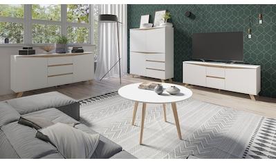 Homexperts Couchtisch »Madlina«, runde Tischplatte in weiß-matt, Maße (B/T/H) ca.... kaufen
