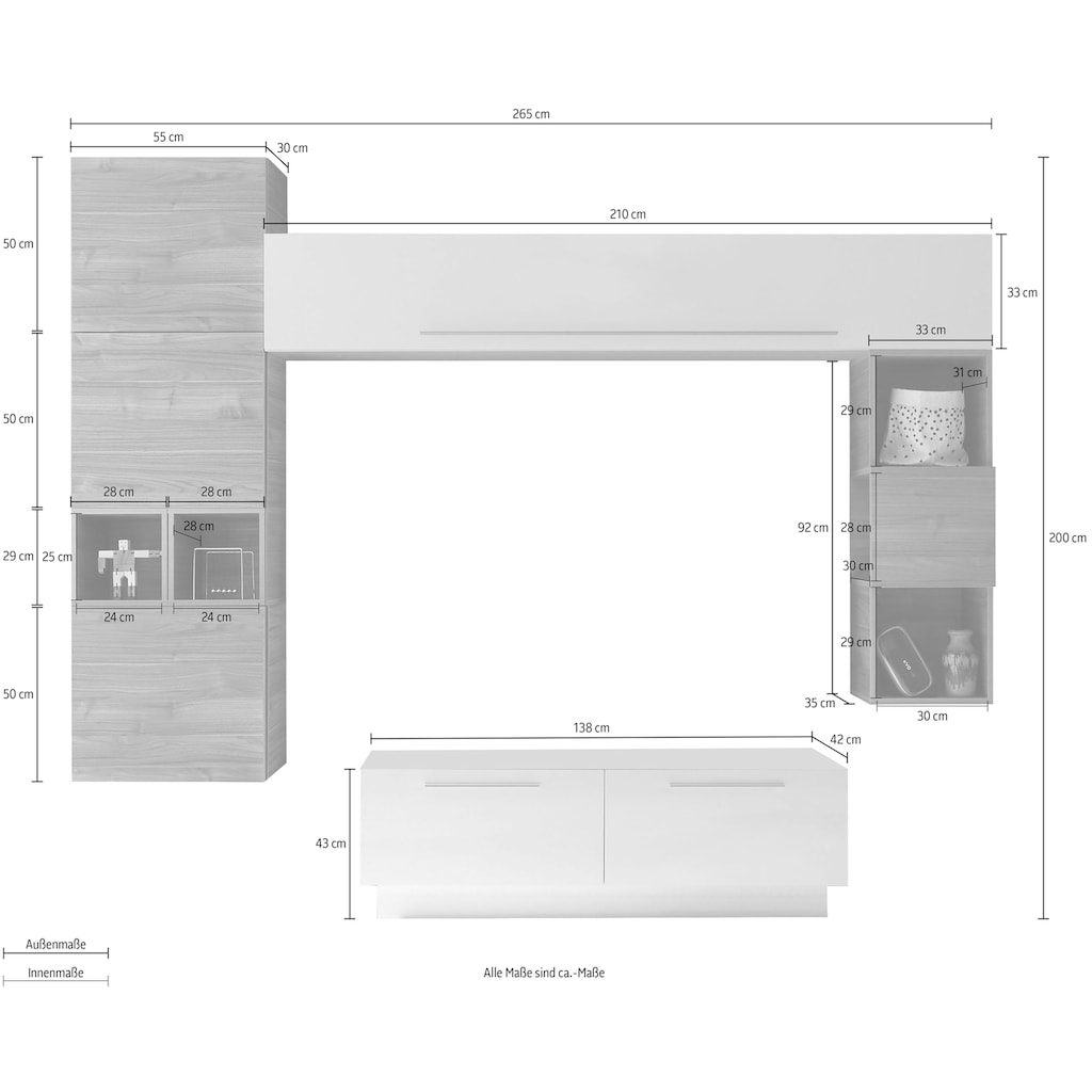 LC Wohnwand »Infinity«, (Set, 7 St.)