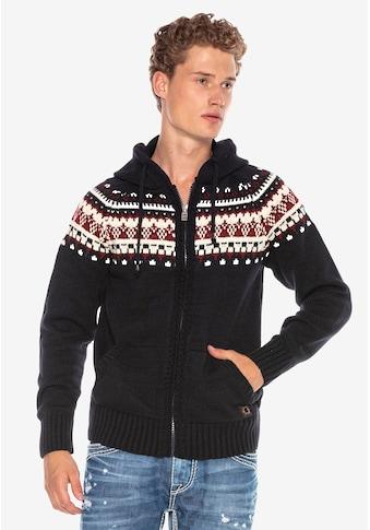 Cipo & Baxx Strickjacke, mit skandinavischem Muster kaufen