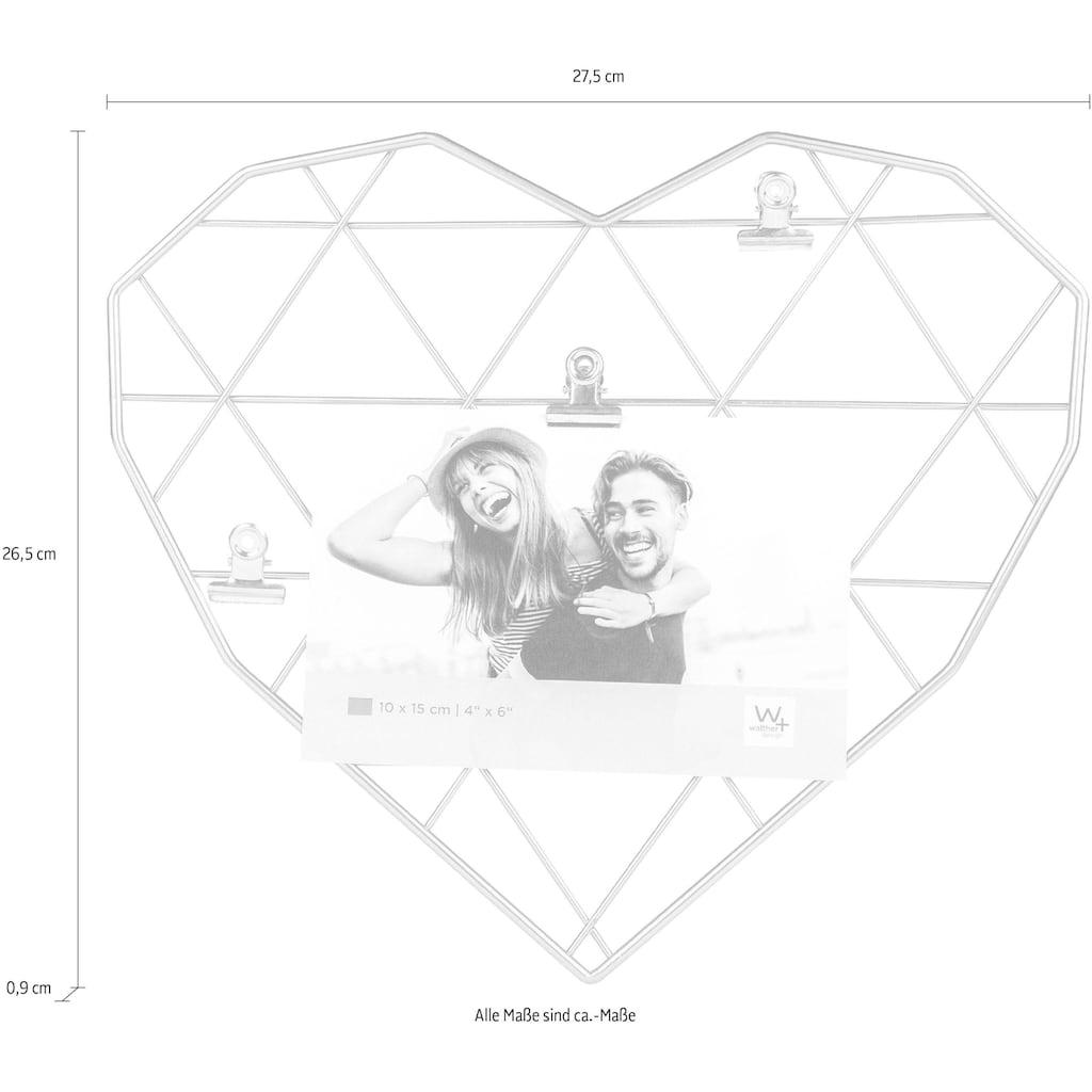 Walther Wanddekoobjekt »Wired Heart«, Fotohalter, Wandgitter, aus Metall, Herz-Form