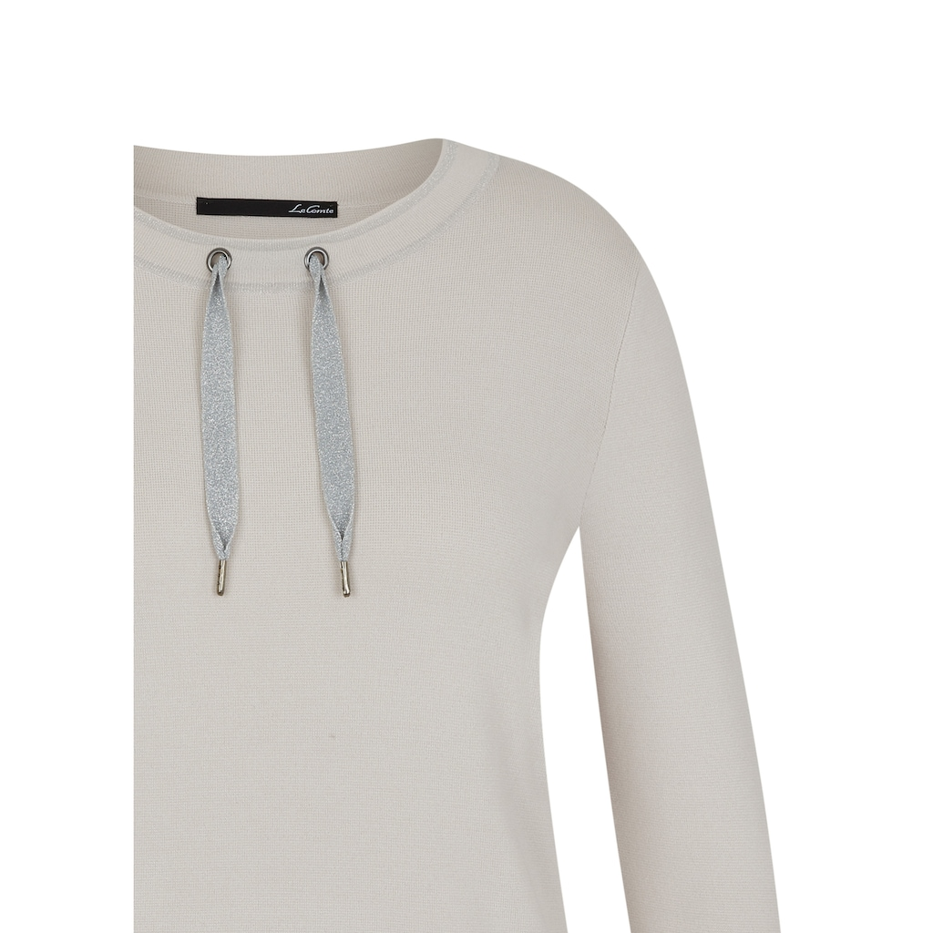 LeComte Rundhalspullover, in Uni-Design mit Glitzerdetails an den Ärmeln