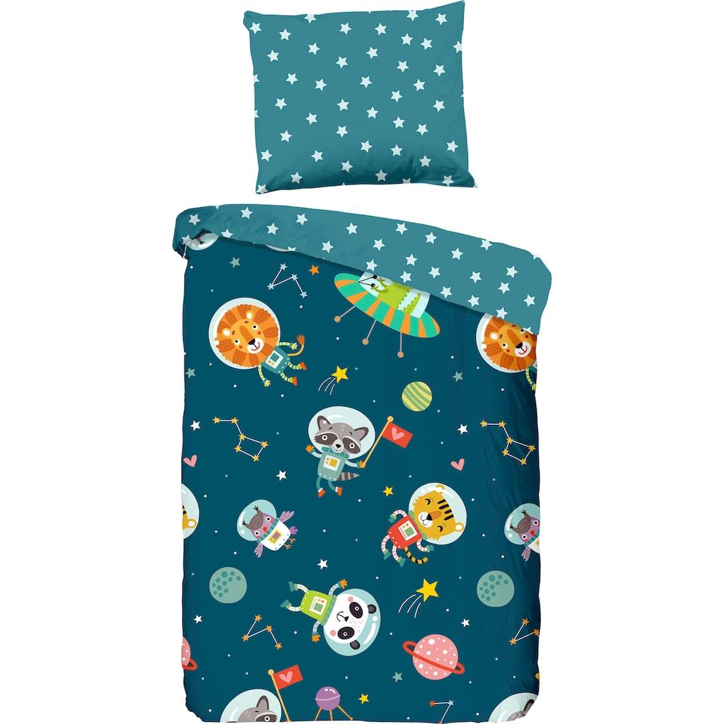 good morning Kinderbettwäsche »Spacy«, mit niedlichen Astronauten