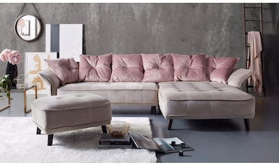 INOSIGN Ecksofa »Charming«, mit farblich abgesetzten Rückenkissen kaufen