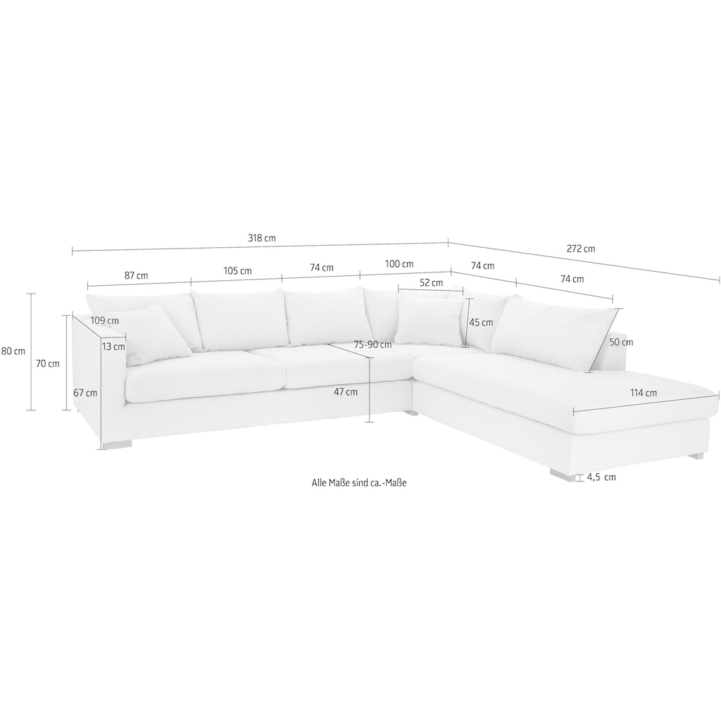 Guido Maria Kretschmer Home&Living Ecksofa »Arles«, Bezug im Baumwoll-/Leinenmix, mit Eichenbeinen