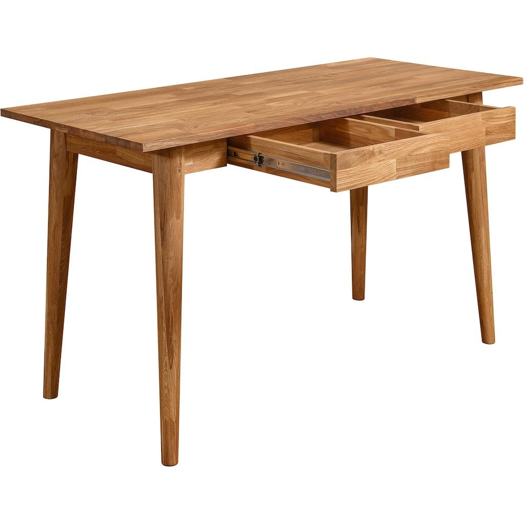 Home affaire Schreibtisch »Scandi«, aus schönem massivem Eichenholz, Breite 140 cm