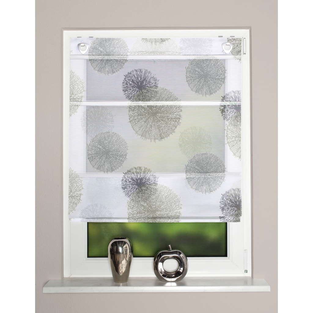 HOME WOHNIDEEN Raffrollo »RAWLINS«, mit Ösen, freihängend, bedruckt