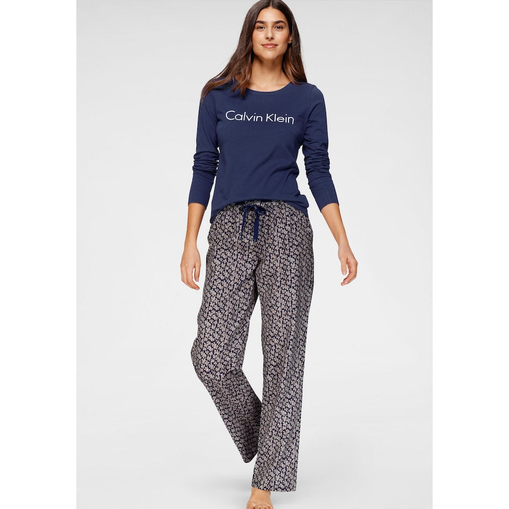 Calvin Klein Pyjama, mit Logoschriftzug und gemusterter Hose