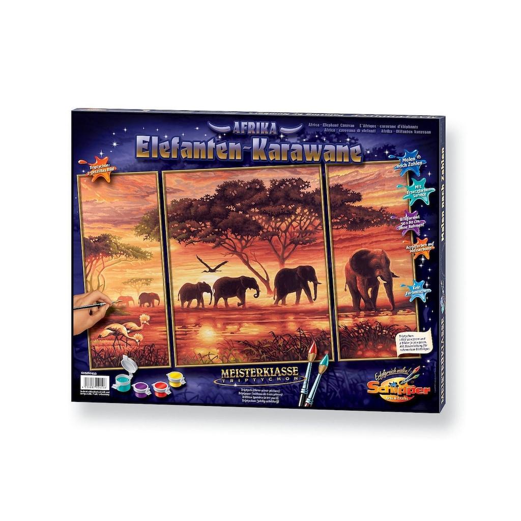 Schipper Malen nach Zahlen »Triptychon - Elefanten Karawane«, Made in Germany