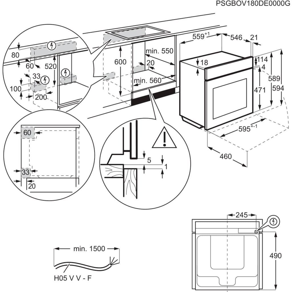 AEG Einbaubackofen »BPC55522BA«, BPE555220M, mit Backauszug, Pyrolyse-Selbstreinigung, SteamBake - Feuchtigkeitszugabe