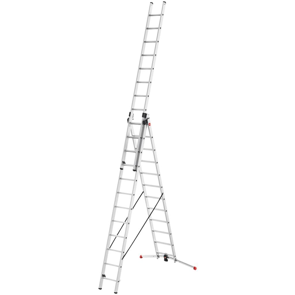 Hailo Anlegeleiter »S100 ProfiLOT«, Aluminium Kombileiter 3-teilig, 3x12-sprossig