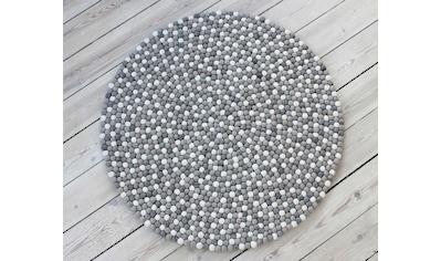 Wooldot Wollteppich »Mixed Color«, rund, 23 mm Höhe, Filzkugel-Teppich, reine Wolle, beidseitig verwendbar, Wohnzimmer kaufen