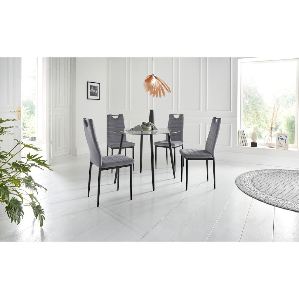 my home Essgruppe »Danny + Mandy«, (Set, 5 tlg.), runder Glastisch, Ø 100 cm und 4 Esszimmerstühlen, Bezug aus Samtstoff