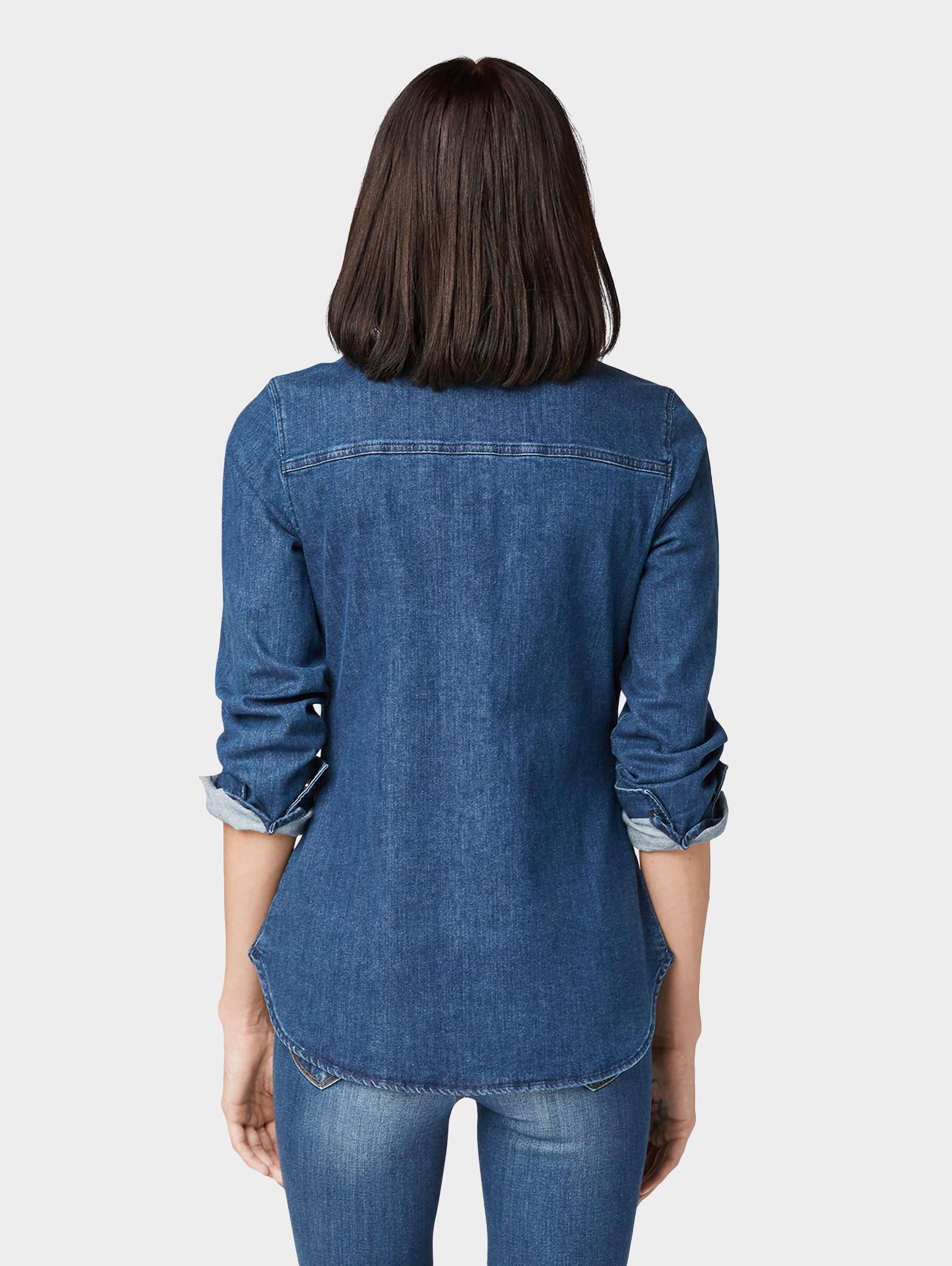 TOM TAILOR Denim Jeansbluse Tailliertes Jeanshemd