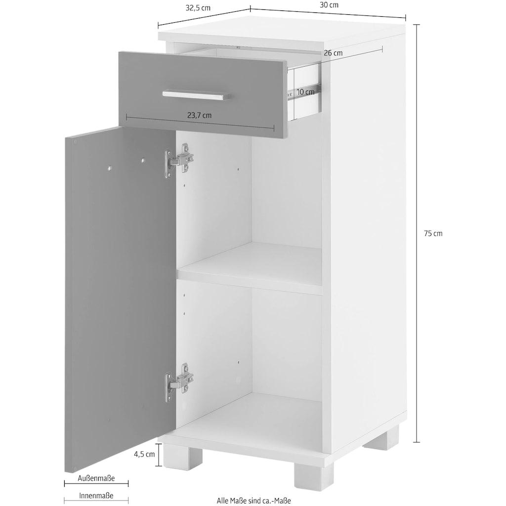 Schildmeyer Unterschrank »Lumo«, Breite 30 cm, mit 1 Tür, 1 Schublade & Metallgriffen