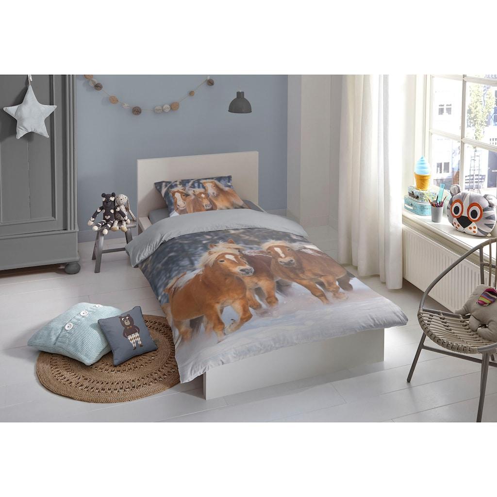 good morning Kinderbettwäsche »Happy horses«, mit Pferden