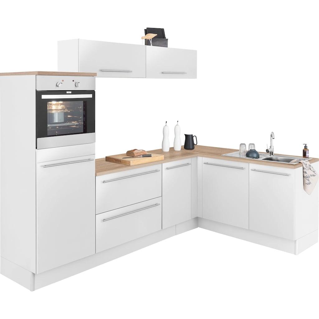 OPTIFIT Winkelküche »Bern«, ohne E-Geräte, Stellbreite 265 x 175 cm, mit höhenverstellbaren Füßen, gedämpfte Türen und Schubkästen, Metallgriffe