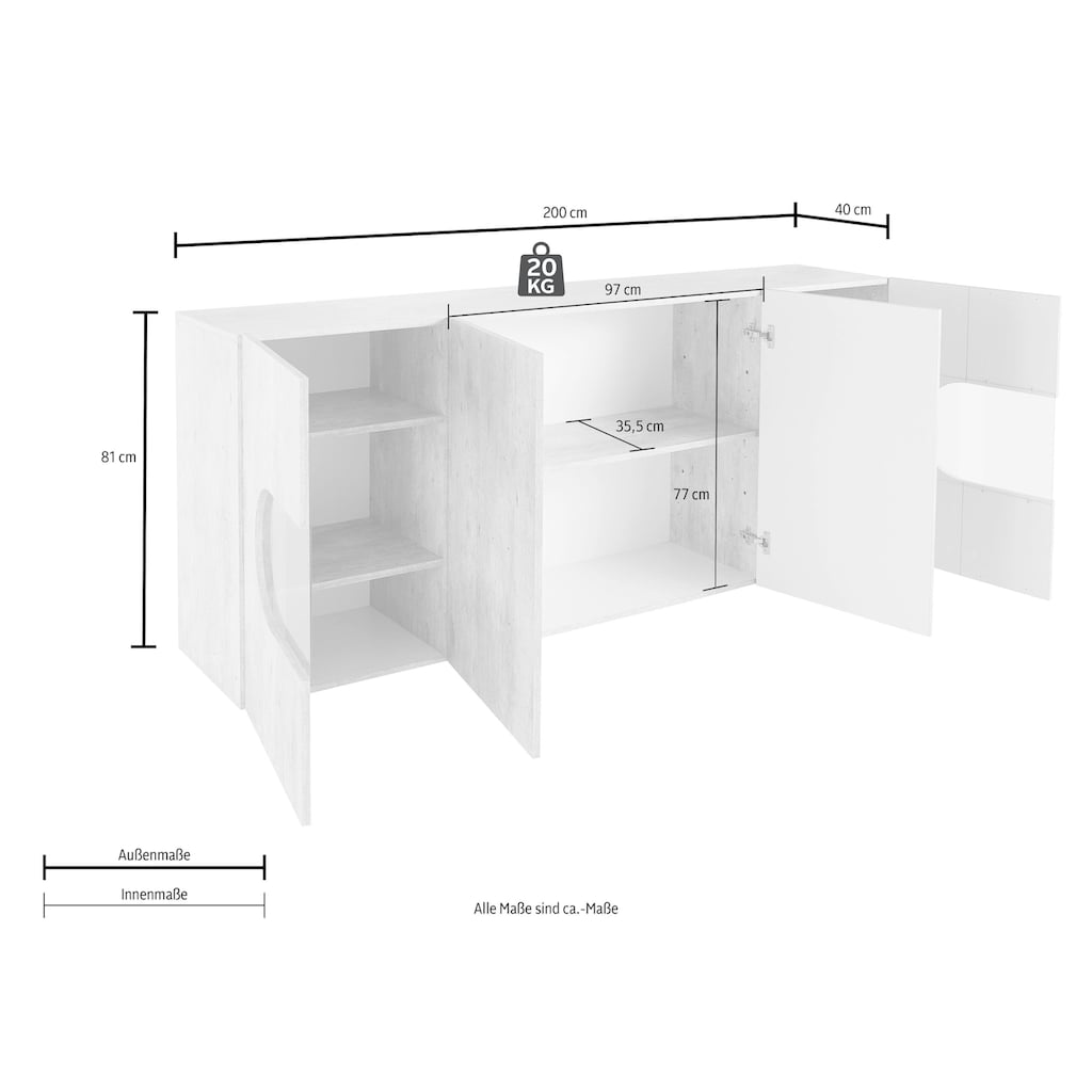 Tecnos Sideboard »Real«, Breite 200 cm