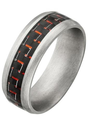 JOBO Fingerring, Edelstahl matt mit Carbon und roten Effekten kaufen