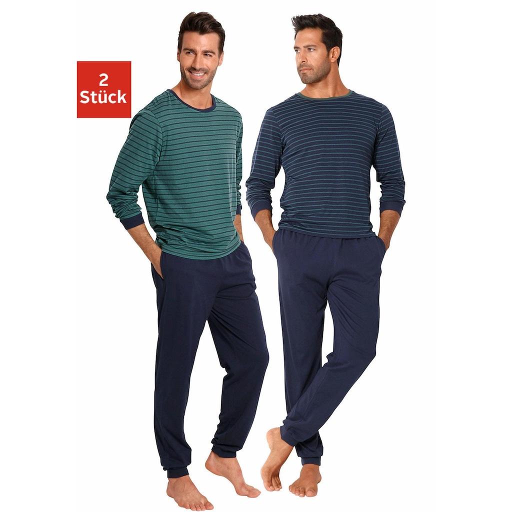 le jogger® Pyjama, (2 Stück), lang im Streifendesign