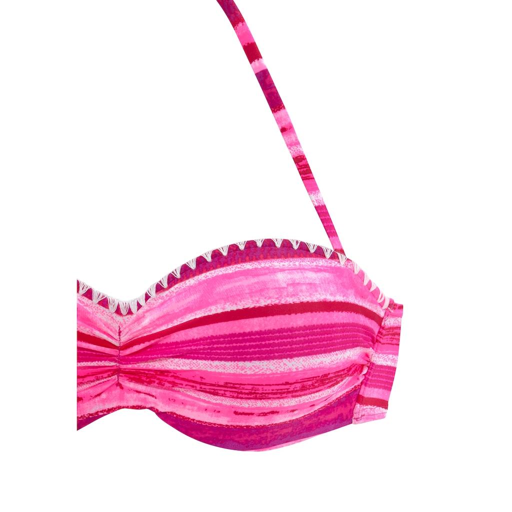 Buffalo Bügel-Bandeau-Bikini, In Batik-Optik und Häkelkante