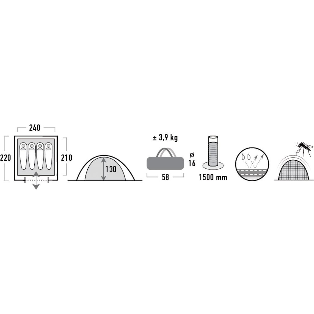 High Peak Kuppelzelt »Texel 4«, 4 Personen, (Set, mit Transporttasche)