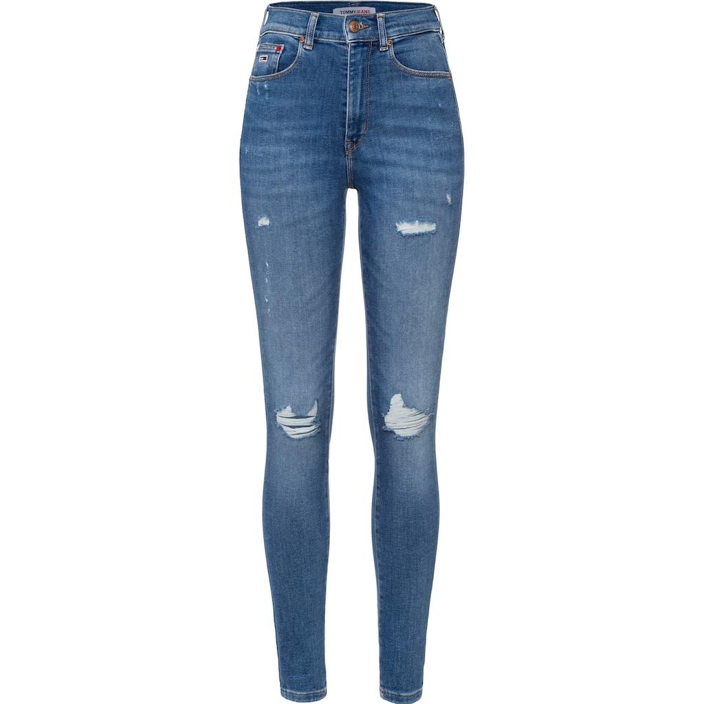 Tommy Jeans Skinny-fit-Jeans »SYLVIA HR SPR SKNY BE237 MBPVSTD«, mit heavy Destroyed-Effekten & Faded-out