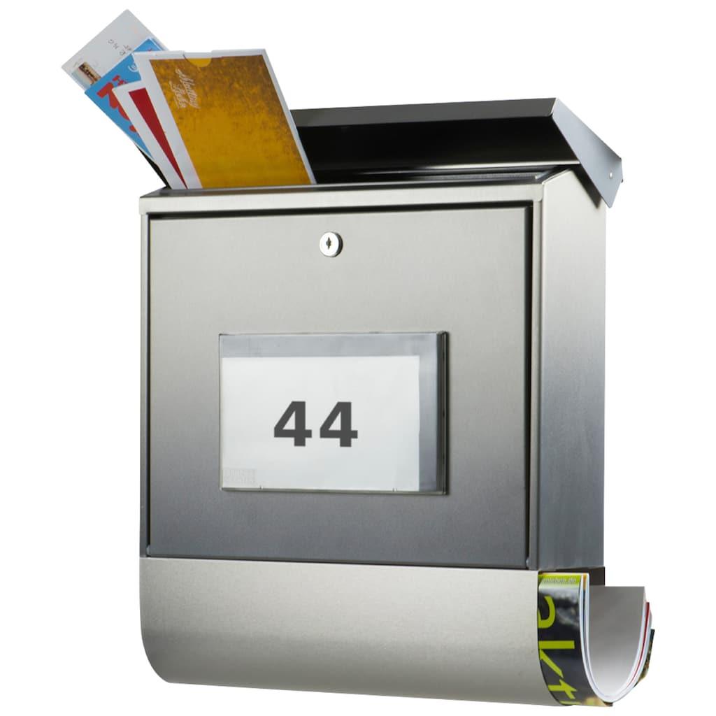 Burg Wächter Briefkasten »Malaga 4400 Ni«, mit Solarenergie, Beleuchtung und separatem Zeitungsfach