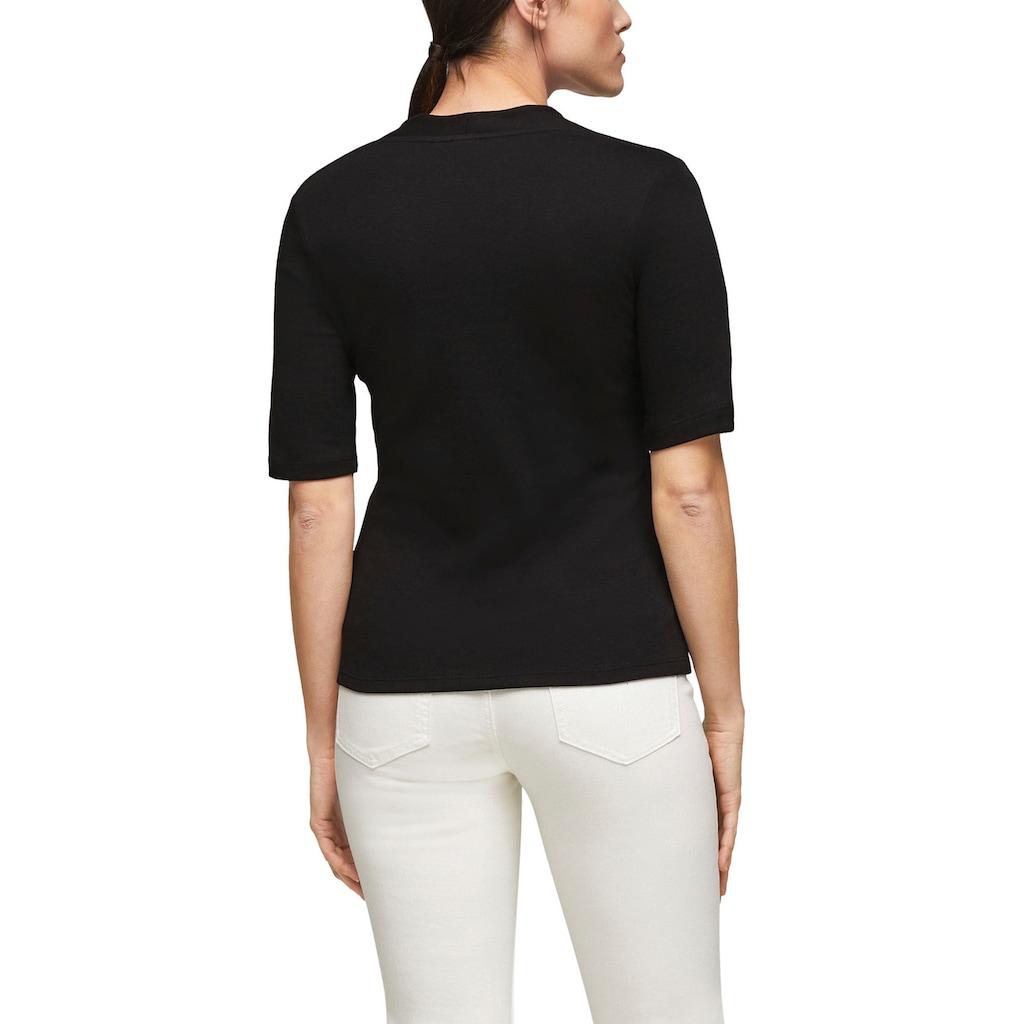 s.Oliver BLACK LABEL T-Shirt, mit V-Ausschnitt und kleinem Kelch-Kragen