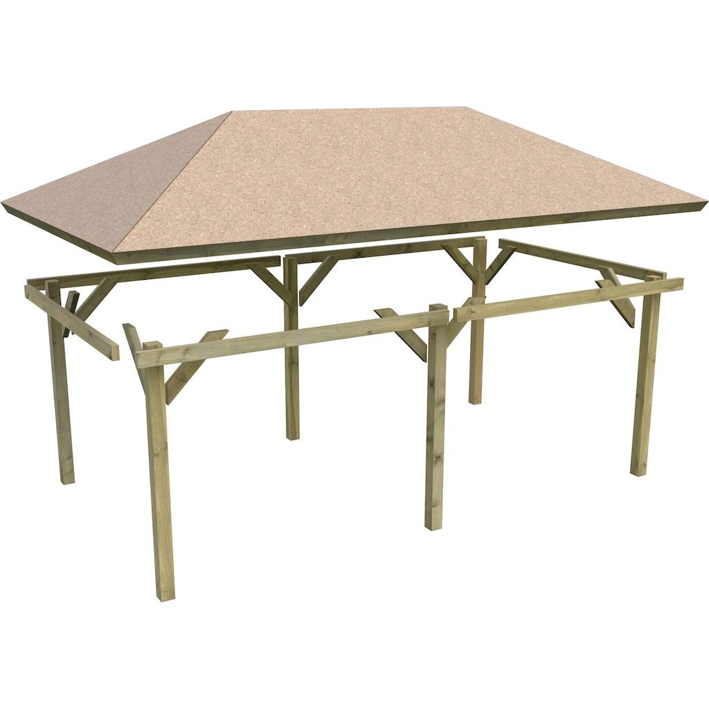 Karibu Holzpavillon »Mailand 2«, (Set), BxT: 345x696 cm, inkl. Dachschindeln und Pfostenanker